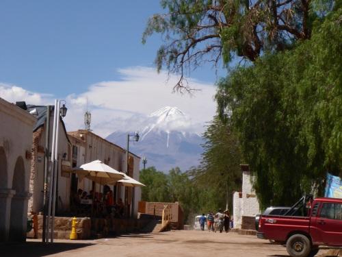 Licancabur volcano seen from San Pedro de Atacama town centre