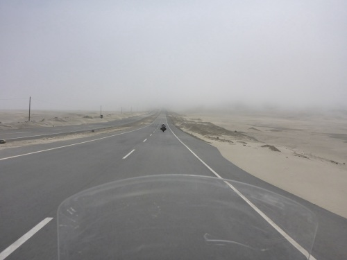 Our first fog encounter on the Panamericana Norte