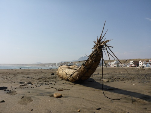 Reed boat on the beach at Huanchaco.