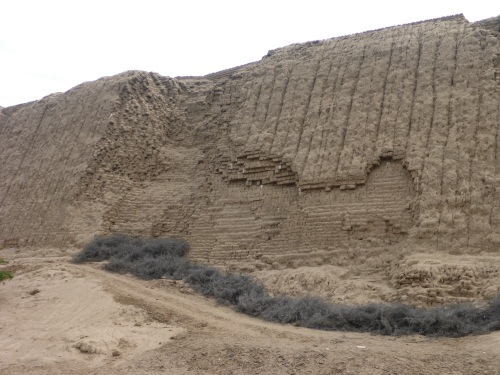 View of Adobe bricks exposed showing construction methods.