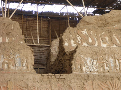Huaca de la Luna, visible is part of the forth layer wall inside.