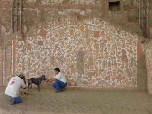Huaca de la Luna, mural wall  with an Peruvian hairless dog in blue