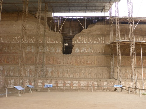 Huaca de la Luna, fifth layer walls damaged by Spanish to plunder tombs inside.