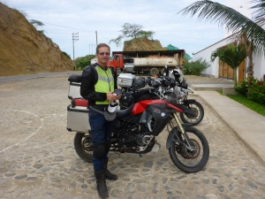 Kristjan meets us at our hotel to ride into Ecuador together