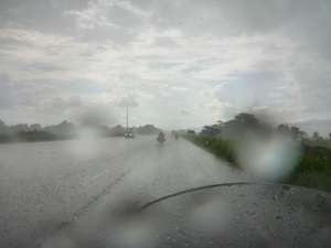 Caught in heavy and very wet downpour on our way to Guayaquil