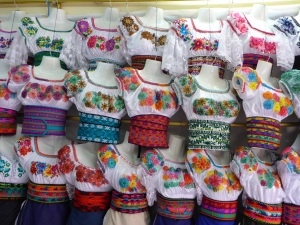 Traditional blouses in Otavalo, Ecuador