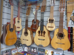 One of several music stores in Otavalo, Ecuador