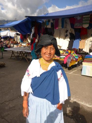 Lovely market seller in Otavalo, Ecuador