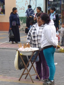 Ice cream seller in Otavalo, Ecuador