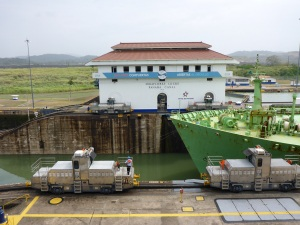 LPG tanker being guided, Panama Canal