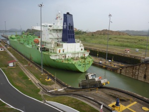 LPG tanker is now in the last lock, Panama Canal