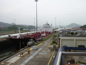 Condensate Tanker lowered into the lock, Panama Canal