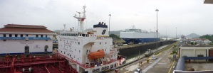 Condensate tanker and car transporter, Panama Canal