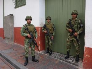 Army security, La Candelaria, Bogota, Colombia