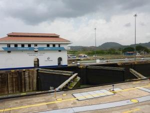 Lock gates opening, Panama Canal