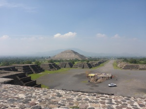 From the Pyramid of the moon, with the pyramid of the sun on the left. Teotihuacan, Mexico