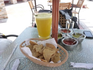 Lunch stop - hot salsas and fresh pineaple juice before lunch arrives
