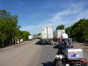 Approaching the Nicaragua-Honduras border post