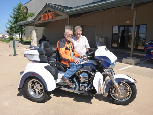 Richard and Helen with their HD trike