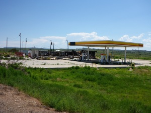 Burned down Shell petrol station outside Tucumcari, NM