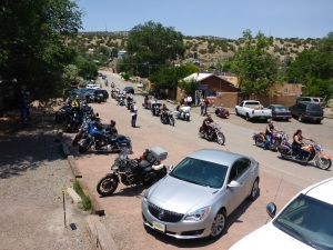 86 Harleys arriving At Madrid's Mine Shaft Tavern, New Mexico, for lunch