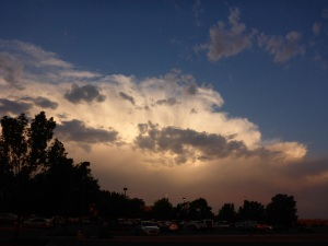 Evening storm cloud  building in Santa Fe