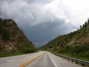 Storms gather as we ride towards Salida, Colorado