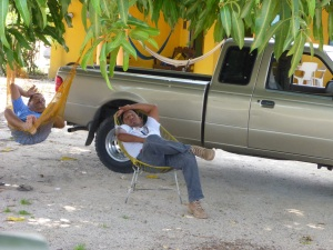 Drivers taking a nap after lunch in Mexico