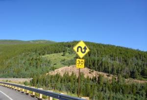 Peak to Peak road sign