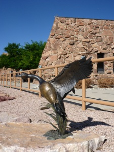 Sculptures along the walking-cycling path in Casper