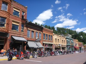 Main Street, Deadwood with motorcycle parking