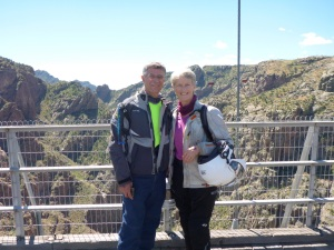 On the Royal Gorge bridge built in 1929, 321m/1053ft above the Arkansas river