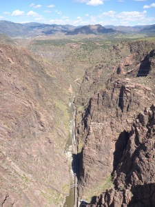 Royal Gorge bridge - the world's highest suspension bridge - spot the train below