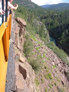 It's a pretty sheer drop down to the Animas River