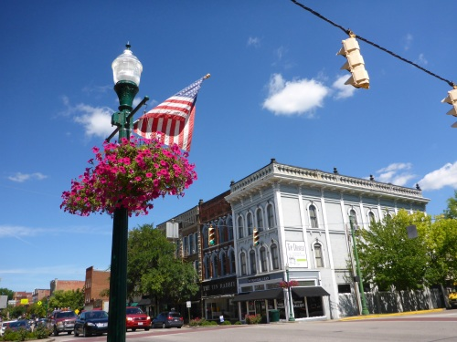 Front Street, Marietta, flags, flowers and fabulous