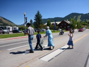 A local family in Jackson, Wyoming