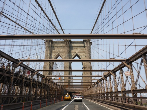Riding across Brooklyn bridge, New York!!
