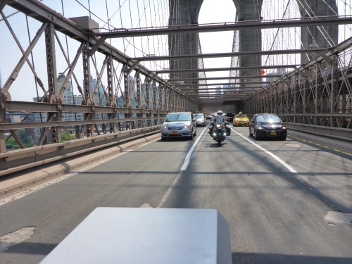 Riding across Brooklyn bridge