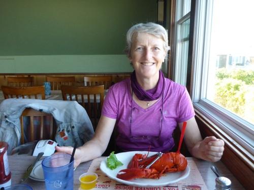 Boiled lobster at Fox Lobster, Cape Neddick Nubble, Maine