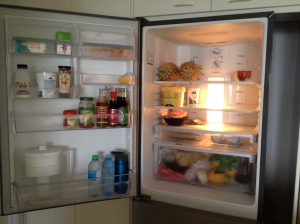 Our fridge after a full weekly shop one month after our return