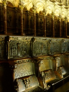 Exquisite wood carvings in the choir, Catedral de Santa Maria, Toledo, Spain