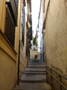 Typical Granada street - steep and narrow