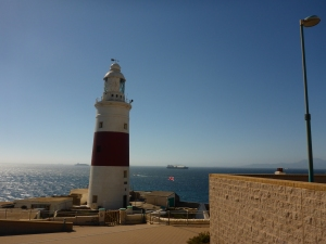 Lighthouse at Europa Point with Africa in the background.