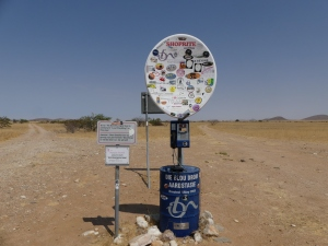 Blue drum marker post. Hartmann valley, NW Namibia