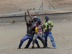 Enthusiastic locals at Karasburg Namibia.