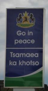 Lesotho border sign