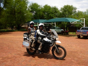 Steph and Richard leaving Horizons Unlimited, South Africa