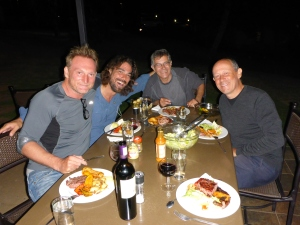 Philippe, Juan and Gérard celebrating Anthony's birthday