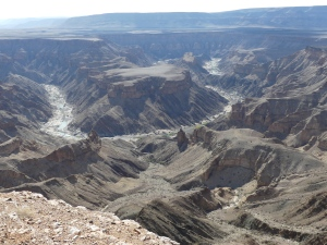 Looking west over the Fish river canyon.
